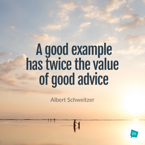 Albert Schweitzer Quote, Example Quote : A good example has twice